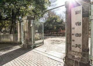 新宿御苑の門の向かいがお店です。